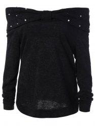 Plus Size Bead Embellished Knitwear - BLACK