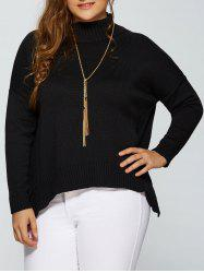 Plus Size Drop Shoulder Side Slit Turtleneck Sweater