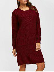 Double Pockets Pullover Sweater Dress