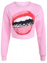 Mouth Print Loose Long Sleeve Pullover Crop Top