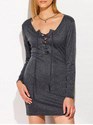 Criss Cross Band Long Sleeve Dress