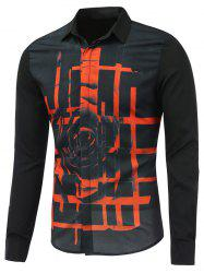 Abstract Rose Printed Long Sleeve Button Shirt -