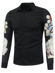 Chinese Opera 3D Printed Long Sleeve Shirt - BLACK