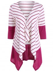 Stripe Drape Cardigan - WHITE