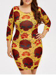 Skull Print Halloween Bodycon Dress