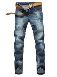 Zip Fly Paint Splatter Distressed Jeans - BLUE