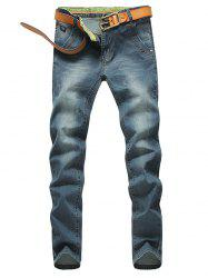 Tapered Fit Zip Fly Mid Waisted Jeans