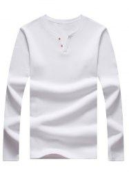 Long Sleeve Notch Neck Button Tee - WHITE 5XL