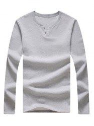 Long Sleeve Notch Neck Button Tee