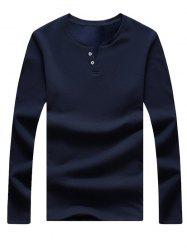 Long Sleeve Notch Neck Button Tee - CADETBLUE