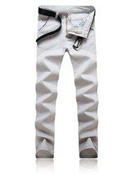 Trimmed Pocket Zipper Fly Tapered Pants - GRAY 38
