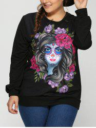 3D Vampire Bloodline Plus Size Halloween Sweatshirt - BLACK