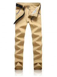 Trimmed Pocket Zipper Fly Tapered Pants - KHAKI