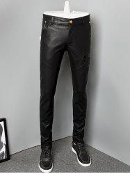 Zipper Fly Skinny Skull Faux Leather Pants