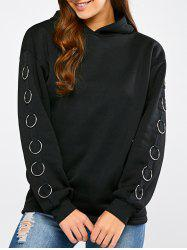 Drop Shoulder Metal Circle Hoodie