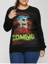 Plus Size Halloween Skulls Print Sweatshirt - BLACK