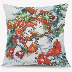 Snowman Pattern Cushion Christmas Throw Pillow Case - COLORMIX