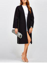 Beaded Collarless Open Front Coat