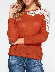 Openwork Lace Panel Knitwear - BURNT ORANGE XL