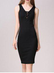 Lace-Up Bodycon Tank Dress -
