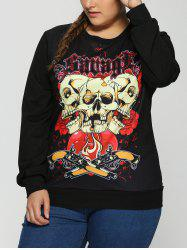 Plus Size 3D Skulls Print Halloween Sweatshirt - BLACK