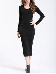 Long Sleeve Side Slit Midi Bodycon Dress