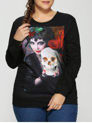 Halloween 3D Beauty and Skulls Print Sweatshirt - BLACK