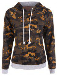 Drawstring Camo Print Panel Hoodie - CAMOUFLAGE COLOR 2XL