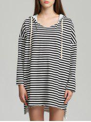 Drawstring Striped High Low Hem Hoodie