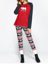 Christmas Ornate Print Leggings and Raglan Sleeves Tee -