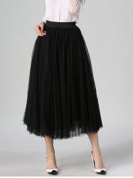 Tulle High Waist Midi Skirt - BLACK