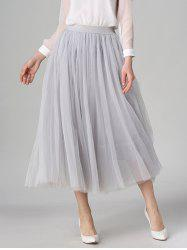 Tulle High Waist Midi Skirt - LIGHT GRAY