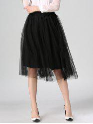 Tied-Up Shirred Blush Tulle A-Line Skirt