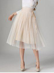 Tied-Up Shirred Blush Tulle A-Line Skirt - APRICOT
