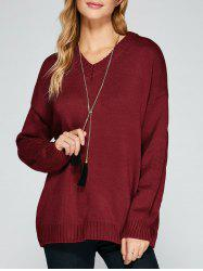 V Neck Drop Shoulder Loose Sweater