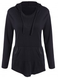 Drawstring Pocket Embellished Hoodie - BLACK XL