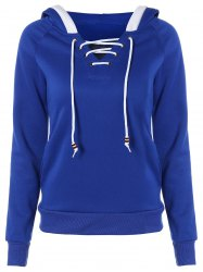 Lace Up Contrast Hoodie - BLUE 2XL