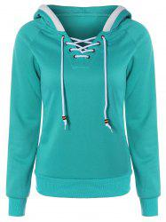 Lace Up Contrast Hoodie - GREEN XL