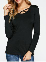Slimming Long Sleeve Criss Cross T-Shirt - BLACK XL