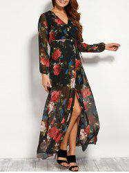 Chiffon Floral Maxi Sheer Wrap Dress with Sleeves - BLACK