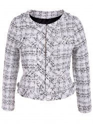 Plus Size Open Front Tweed Jacket - WHITE