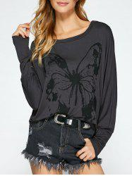 Butterfly Print Batwing Sleeve T-Shirt