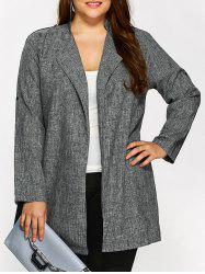 Plus Size Open Front Ruffle Coat - GRAY