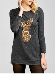 Side Slit Sequins Deer Christmas T-Shirt