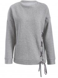 Lace-Up Fleece Pullover Sweatshirt