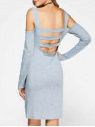 Cold Shoulder Backless Bandage Sheath Cocktail Dress -