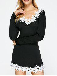 Long Sleeve Lace Insert Open Back Dress