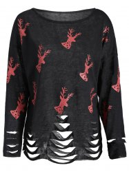 Christmas Deer Print Ripped Knitwear