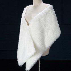 Faux Fur Rectangle Bridal Pashmina - WHITE