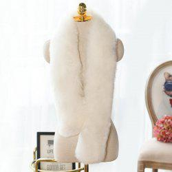 Faux Fur Long Scarf - WHITE